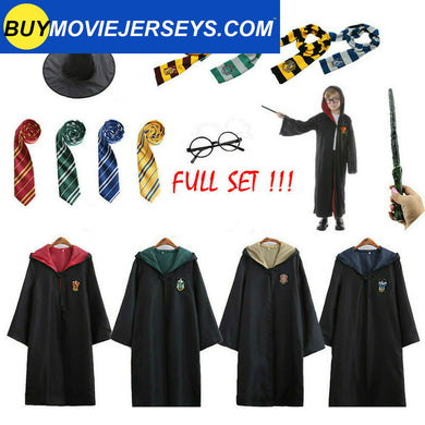 Harry Potter Adult Kids Robe Cloak Gryffindor Tie Cosplay Costume Set