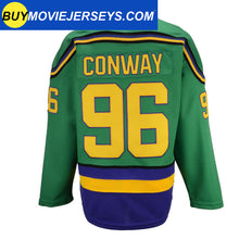 Load image into Gallery viewer, The Might Ducks Movie Hockey Jersey #96 Charlie Conway