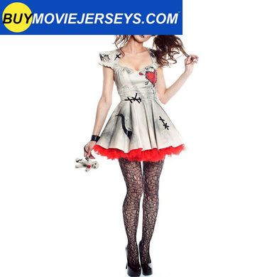 Voodoo Doll Costume Halloween Fancy Dress Cosplay for Adult and Kid