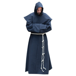 Mens Medieval Friar Hooded Robe Monk Renaissance Costume Halloween Cosplay Size S-5XL