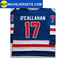 Load image into Gallery viewer, 1980 USA Olympic Miracle on Ice Hockey Jersey JACK O'CALLAHAN  #17 Blue And White