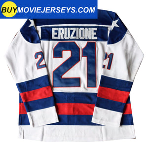 1980 USA Olympic Miracle on Ice Hockey Jersey MIKE ERUZIONE #21 Blue And White