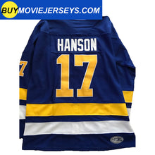 Load image into Gallery viewer, SLAPSHOT Hanson #17 Charlestown Chiefs Hockey Team Madbrother Hockey Jersey Blue And White Colors