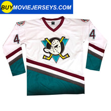 Load image into Gallery viewer, The Might Ducks Movie Hockey Jersey Fulton Reed  # 44 Defenseman White Color