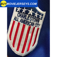 Load image into Gallery viewer, SLAPSHOT Hanson #18 Charlestown Chiefs Hockey Team Madbrother Hockey Jersey Blue And White Colors