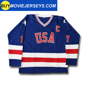 1980 USA Olympic Miracle on Ice Hockey Jersey JACK O'CALLAHAN  #17 Blue And White