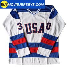Load image into Gallery viewer, 1980 USA Olympic Miracle on Ice Hockey Jersey JIM CRAIG #30 Blue And White
