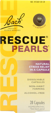BACH ORIGINAL: Flower Remedies Rescue Pearls Natural Stress Relief in a Capsule, 28 capsules