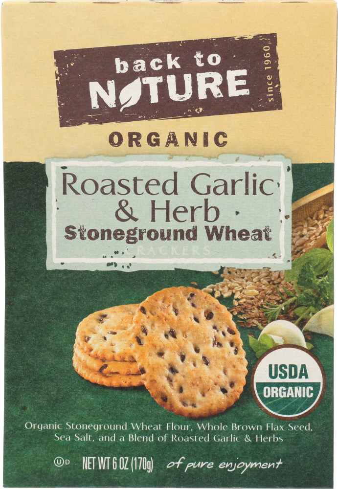 BACK TO NATURE: Roasted Garlic and Herb Cracker, 6 oz