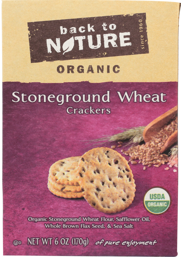 BACK TO NATURE: Organic Stoneground Wheat Crackers, 6 oz