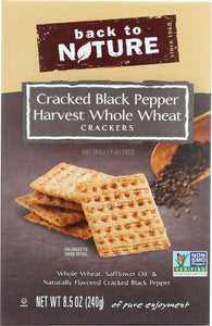 BACK TO NATURE: Cracked Black Pepper Harvest Whole Wheat Crackers, 8.5 oz