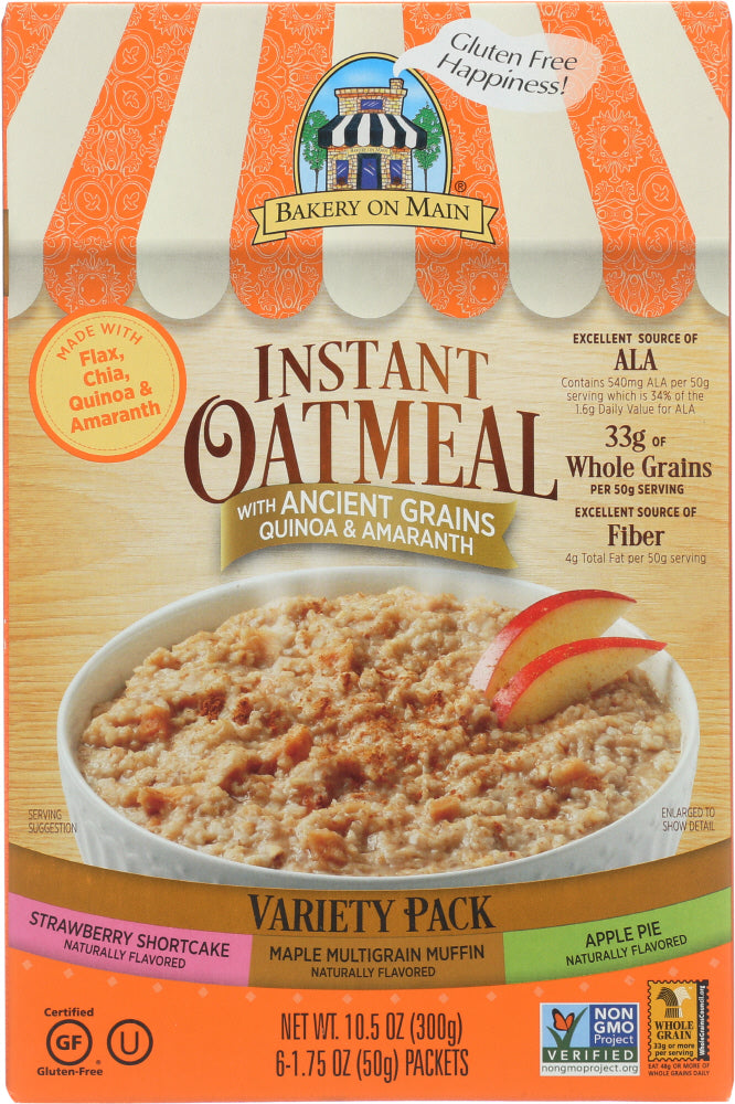 BAKERY ON MAIN: Instant Oatmeal Variety Pack 3, 10.5 oz