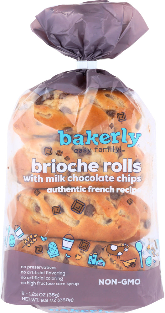 BAKERLY: Brioche Rolls Milk Chocolate Chip, 9.9 oz