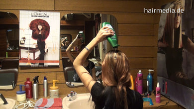 9043 Lucia hairspray self wash shampoo into dry hair 16 min HD video for download