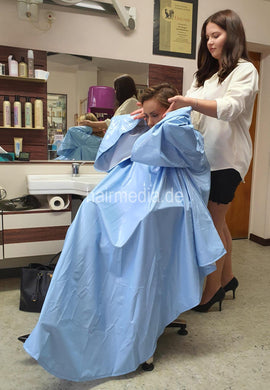 PVC Salon cape very large and heavy baby blue