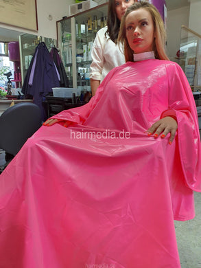 PVC Salon cape very large and heavy pink