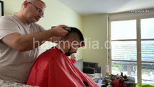 Load image into Gallery viewer, 2012 20210111 home buzzcut by Nico in red cape clippercut