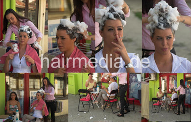 9134 2 Nicky by Dunja outdoor smoking wash 13 min HD video for download