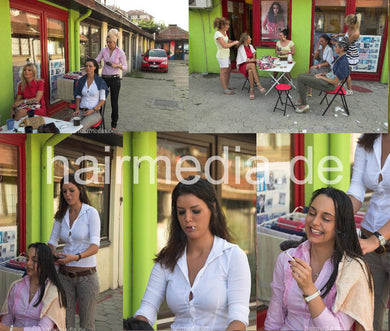 9134 5 Dunja Nicky outdoor combing smoking 11 min HD video for download