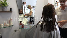 Load image into Gallery viewer, 6191 27 Alina teen thick hair wetcut after shampoo in large heavy pvc velcroclosure cape