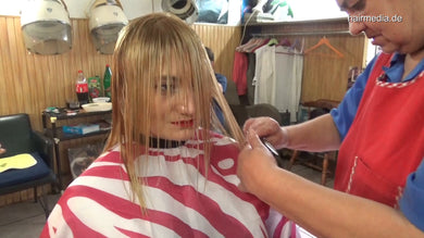 6196 Mimmy 2 blonde haircut and smoking wetset on metal rollers 21 min HD video for download
