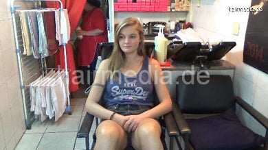6196 SarahB 1 teen backward salon shampooing by barber in short pants