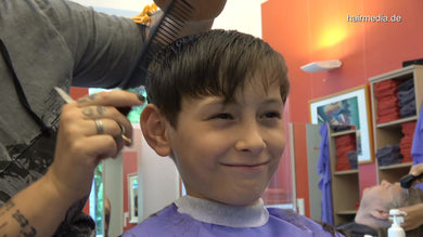 8160 07 young boy Zoya in Leatherpants controlled haircut