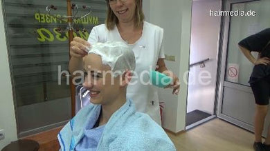 8400 Amy headshave in barbershop by female barber 33 min HD video for download