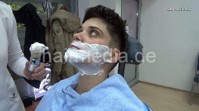 8400 Tany 2 female faceshave using shavingcream and knife