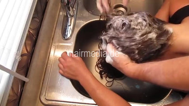9000 permed hair ASMR kitchensink shampooing with help