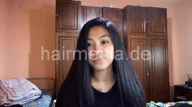 9093 13 LONG HAIR OILING before bed  Long Haired Filipina