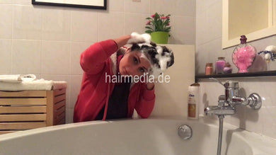 1147 self shampooing ASMR relax sound in red jacket in bathroom over tub