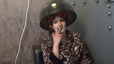 1143 Cami Smokes a Cigarette in Rollers Under the Dryer