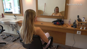 370 Julia long thick blonde hair backward pampering ASMR salon shampooing by barber