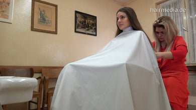 8150 MarieM by MariaK 2 dry cut in large cape in barbershop in barberchair