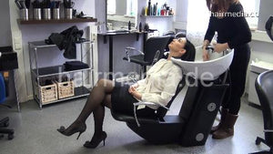 7084 Annelie 1 backward salon hair shampooing in black skirt, black nylons and high heels
