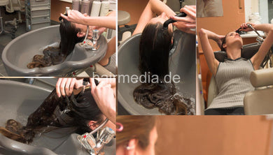 193 Jenny 2 self shampooing in salon bowl, 19 min video for download