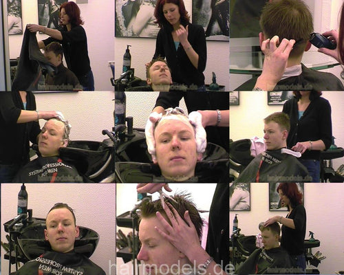 252 young boy shampoo and cut 10 min video for download