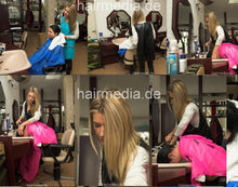 Load image into Gallery viewer, 199 2 Melanie by KristinaB forward hair shampooing in PVC shampoocape pink