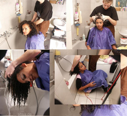 165 Lilly afro shampooing by barber Timo 17 min video for download