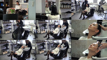 Load image into Gallery viewer, 7084 Annelie 1 backward salon hair shampooing in black skirt, black nylons and high heels