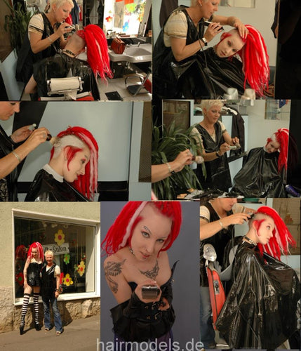Red Punk haircut and shave pictures for download