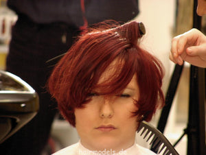 b003 KerstinS Chemnitz redhead barberette blow out by colleauge