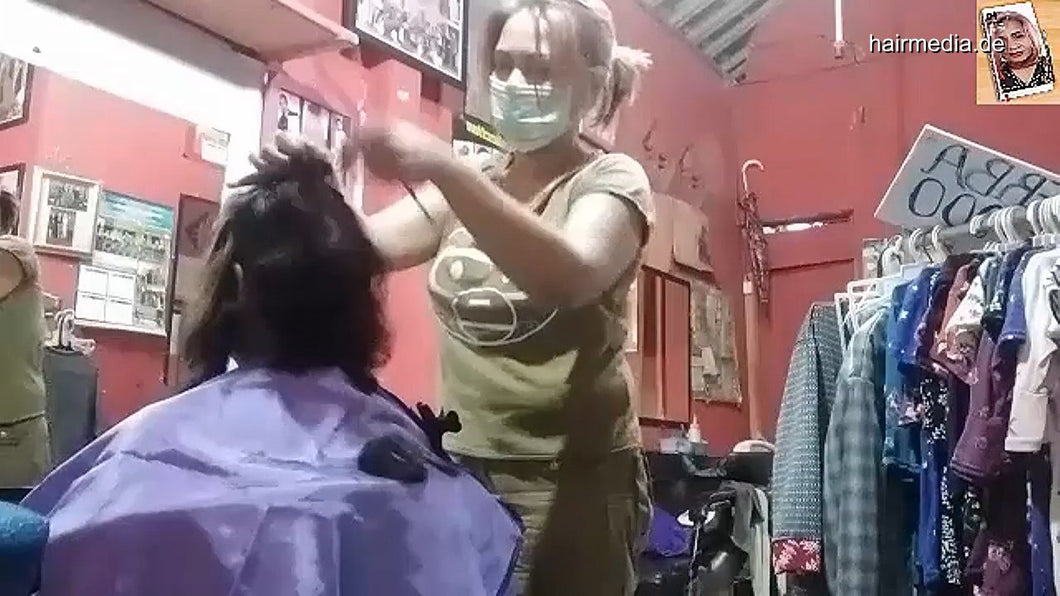 8600 02 Long to short haircut- hairdresser education -- women haircut 8 min video for download