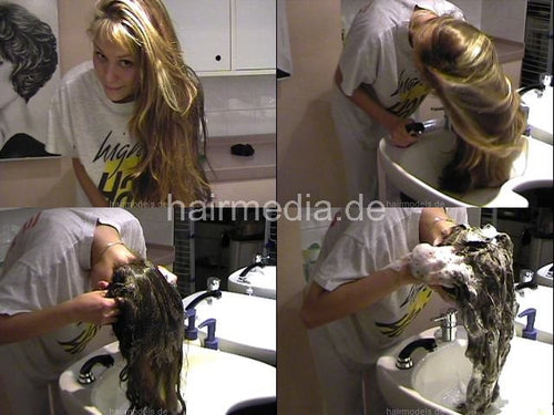 A lone in a row. Barberette washing her long blonde hair in salon forward TRAILER