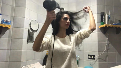 1147 hair dryer ASMR relax sound self blow in pullover in bathroom