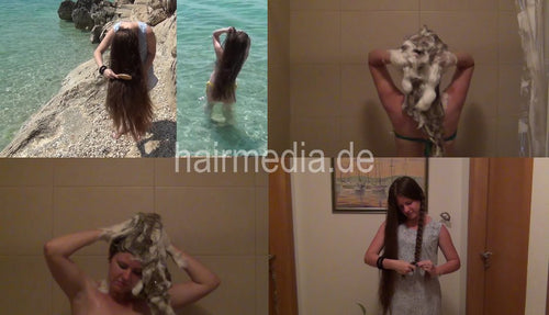 1023 6 Suza outdoor and bikini long hair self wash 20 min video for download