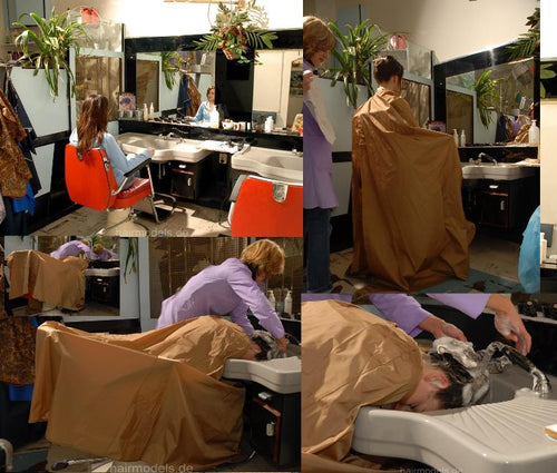 145 JennyA caping strong shampoo and haircut in large capes barbershop