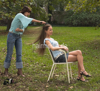 196 Katharina outdoor hairplay by LauraB brushing, combing, braids