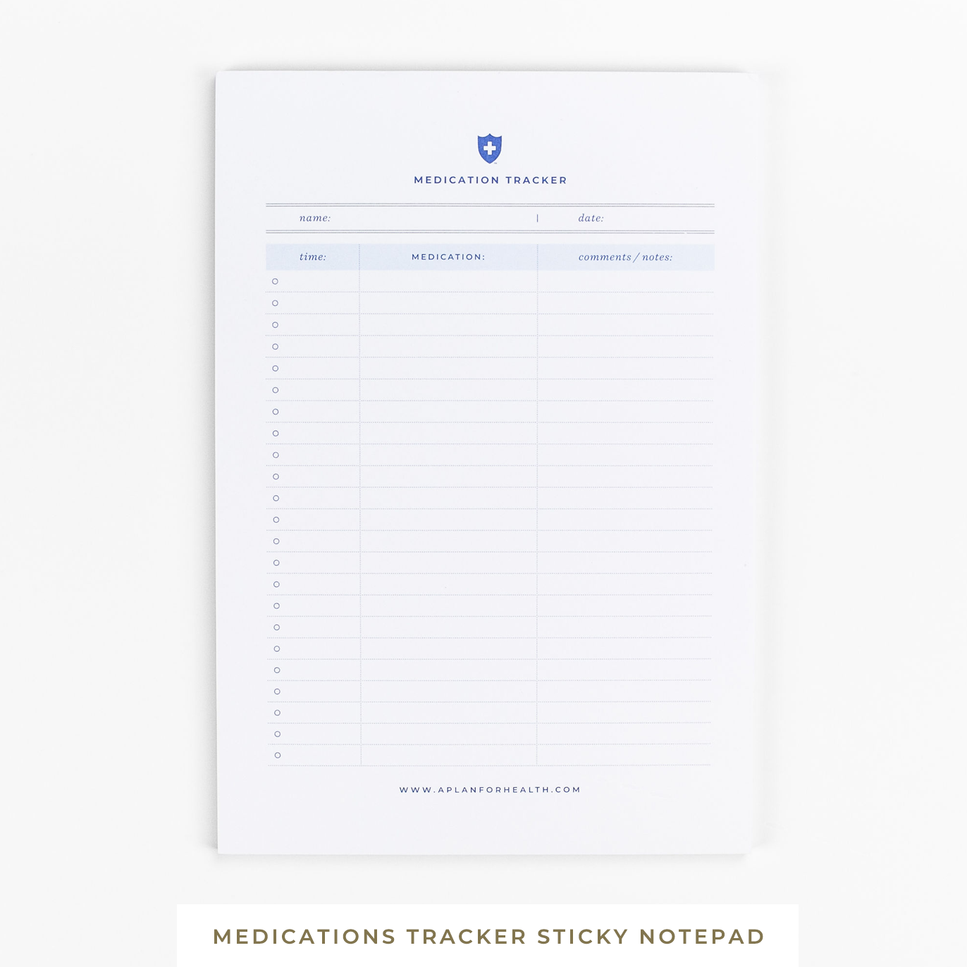 A Plan for Health || Medications Tracker Sticky Notepad